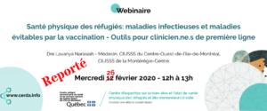 Webinaire - Santé physique des réfugiés: maladies infectieuses et maladies évitables par la vaccination - Outils pour les cliniciens de première ligne