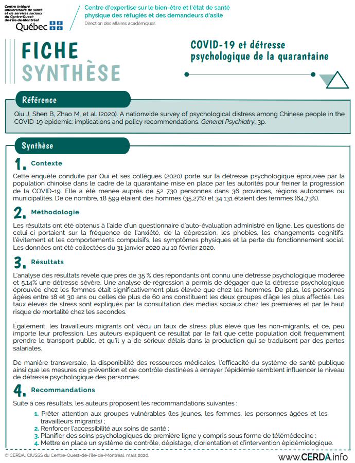 Fiche synthèse - Maladie à coronavirus (COVID-19) et détresse psychologique de la quarantaine