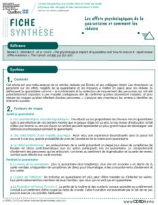 Fiche synthèse - Les effets psychologiques de la quarantaine et comment les réduire