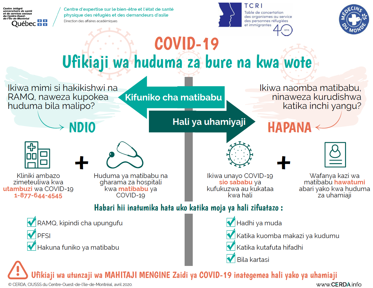 INFO - COVID-19 : Accès aux services sans frais et pour tous - Swahili