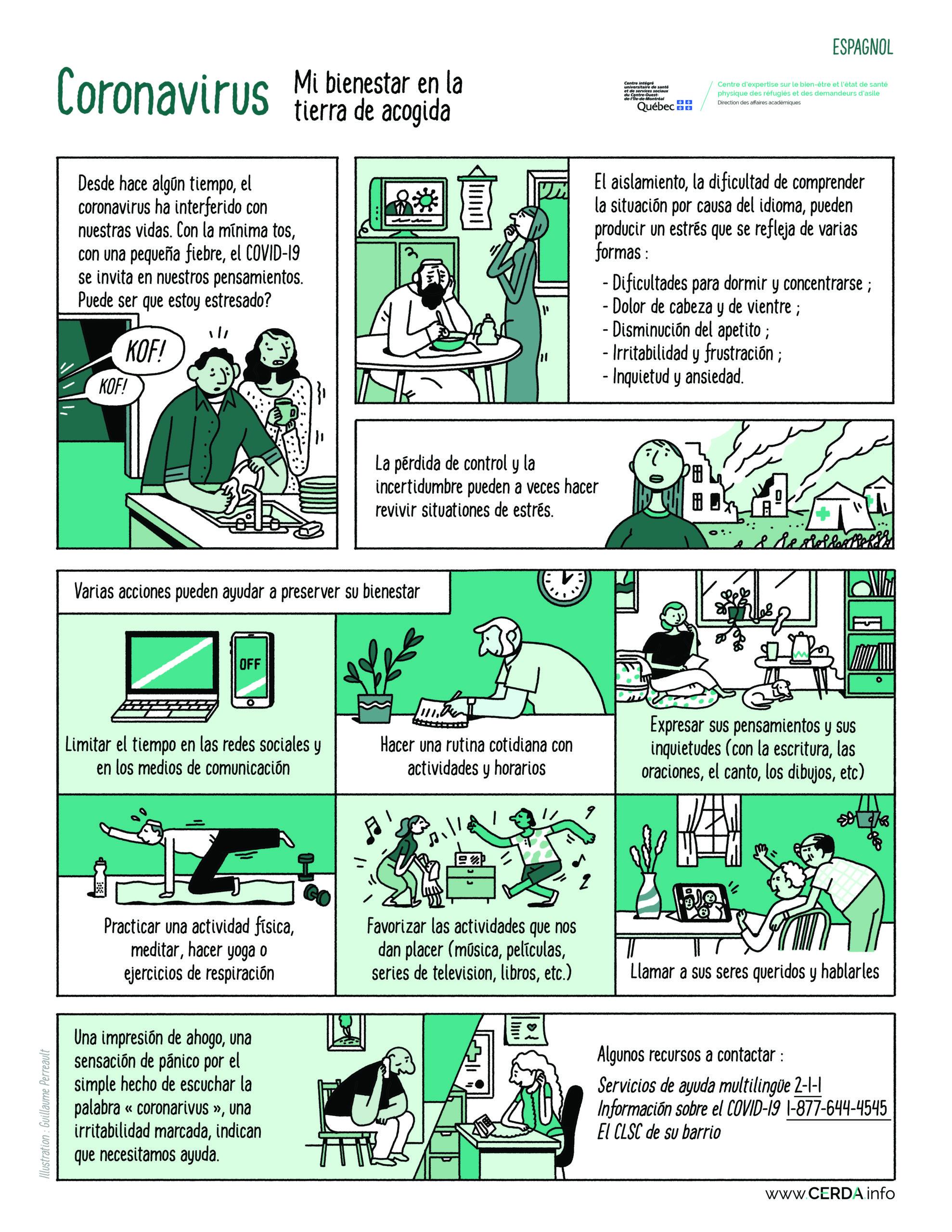 BD - Coronavirus, mon bien-être en terre d'accueil - Espagnol