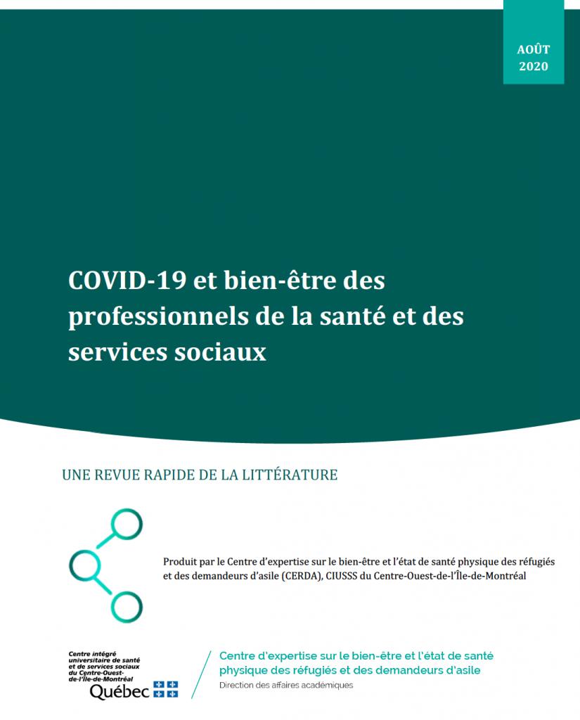 COVID-19 et bien-être des professionnels de la santé et des services sociaux