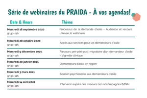 Tableau des dates et horaires des prochains webinaires avec le PRAIDA et le CERDA