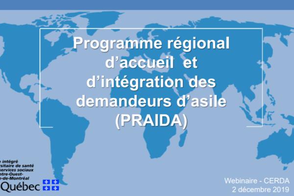 Comprendre la trajectoire des demandeurs d'asile et l'offre de services du Programme régional d'accueil et d'intégration des demandeurs d'asile (PRAIDA)