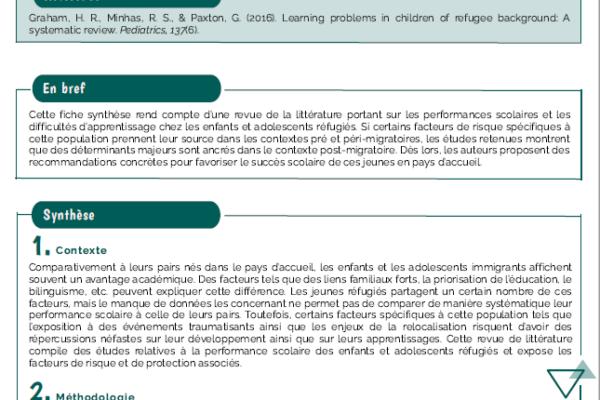 Difficultés d'apprentissage chez les enfants et adolescents réfugiés